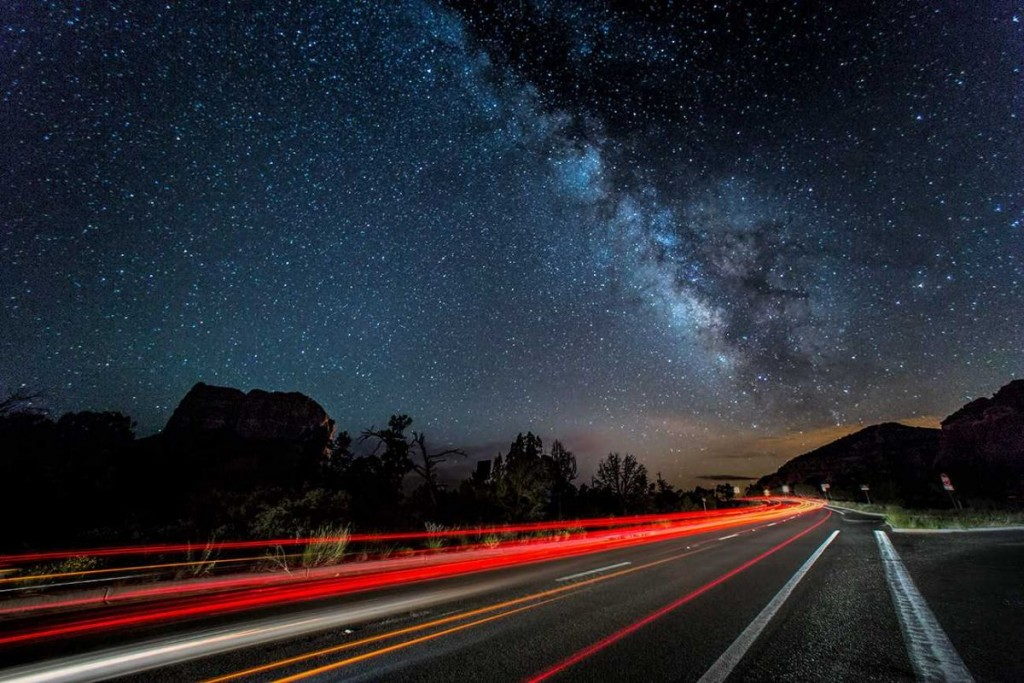 Milky Way and car trails in Sedona