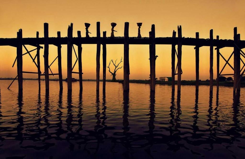 The Ubein Bridge in Burma at sunset