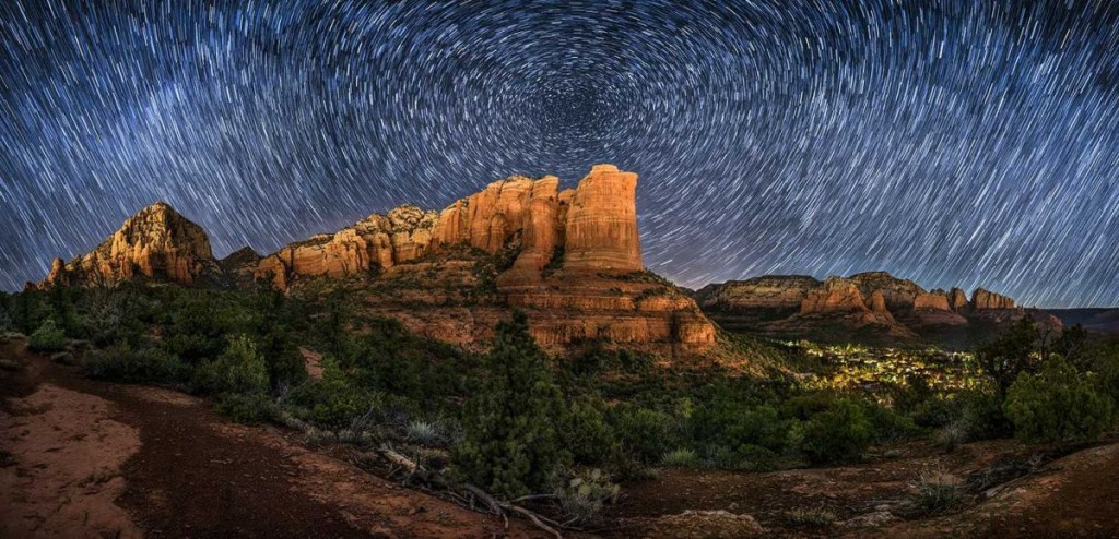 Two row star trail panorama with overexposed foreground