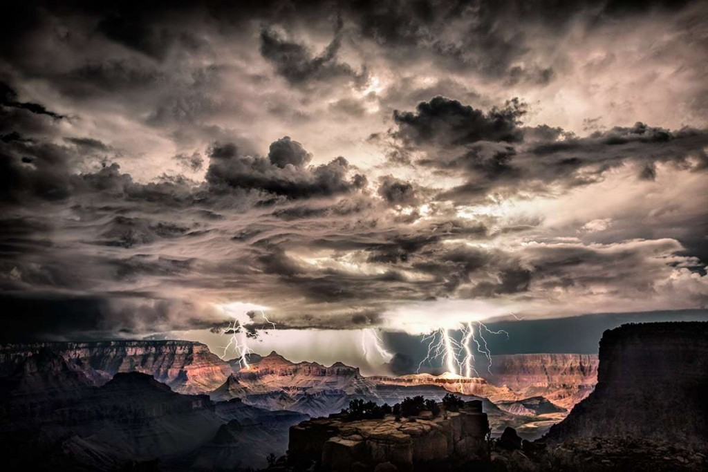 Lightning storm in the Grand Canyon. Shot this image at Morna Point in the Grand Canyon on August 30th, 2013. I was there with my girlfriend and my friend Rolf Maeder, and told them I wanted to stay after dark to hopefully get lucky enough to capture lightning over the Grand Canyon. This was my biggest wish in the world as living in Sedona for the past 2 years, I had been teaching people how to shoot lightning and Rolf and my girlfriend were very excited too. When I saw the first bolt, I screamed to both of them to get their cameras and I lightpainted the foreground for both of them and stayed there for hours shooting that amazing night. This is a single shot where i was able to get three different lightning bolts. I post processed it in raw and used Nik Color Efex to bring out more detail.