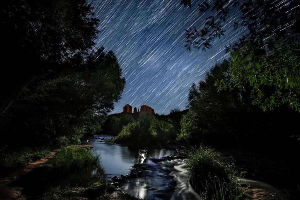 Star trails and moonlight above Sedona